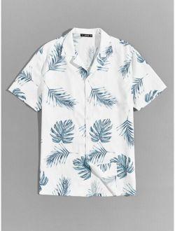 Revere Collar Tropical Print Hawaiian Shirt
