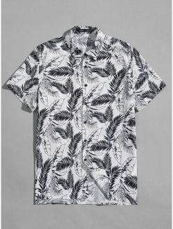 Button Front Tropical Print Hawaiian Shirt