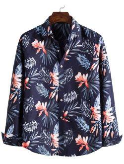 Tropical Print Button Up Hawaiian Shirt