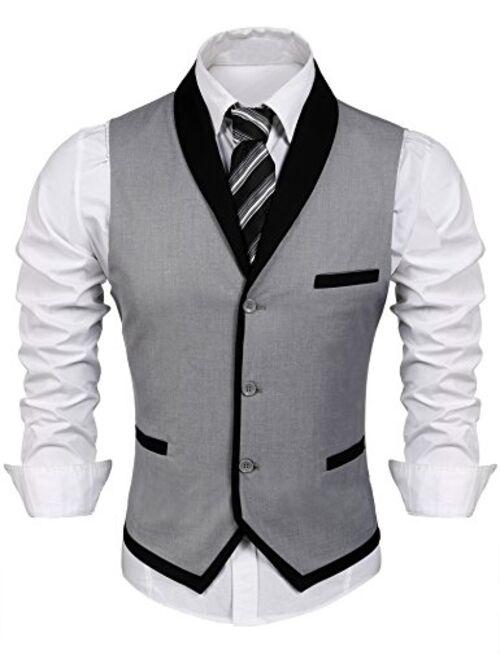 COOFANDY Men's Suit Vest Slim Fit Business Wedding Vests Dress Waistcoat