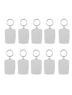 HOMEMAXS 10pcs Rectangle Blank Insert Photo Picture Frame Split Ring Keychain Personalized Photo 4*5.6cm