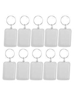 HOMEMAXS 10pcs Rectangle Blank Insert Photo Picture Frame Split Ring Keychain Personalized Photo  5*3.3cm