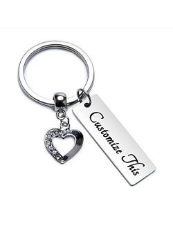 Fanery Sue Personalized Custom Rectangular Keychain Name Heart Charm Key Tags Keyring Engraved Message