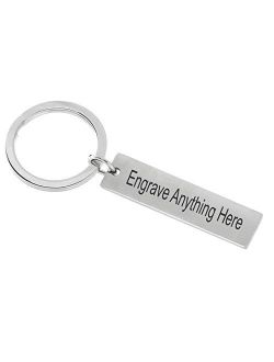 Silver Custom Engraved Keychain, 2 Sides Make a Customizable, Engravable, Flat Metal Personal KeyChain Personalized Name Ring