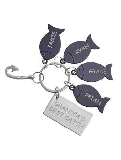 Personalized Name Hooked On You Keychain - 4 Fish