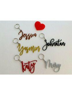 Personalized Name Keychain Custom Name Keyring Laser Cut Metal Names Handmade Bag Tag