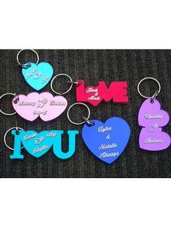 Heart Personalized Name Heart Key chain Custom Names Engraved Free keychain keyring