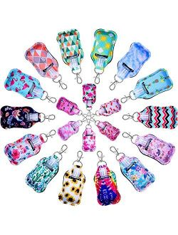 Hand Sanitizer Holders, Shynek 40pcs Empty Travel Size Bottle and Keychain Holders Set Include 20pcs Flip Cap Reusable Bottles, 20pcs Reusable Bottles Keychain Carriers f