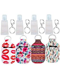 Hand Sanitizer Keychain Holder, Topcent 4Pcs Small Empty Travel Size Bottle Refillable Containers for Lotion, and Liquids - 30 ML Flip Cap Reusable Bottles with Keychain