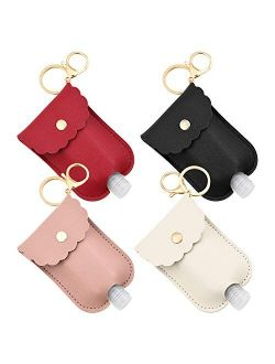 4 Pcs Travel Bottles 2Oz Portable Squeeze Bottle Leakproof Refillable Flip Cap Bottles with Leather Keychain Holder for Hand Sanitizer Soap Lotion Essential Oil