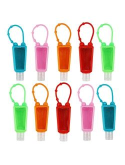 LONGWAY 1 oz Empty Portable Travel Bottles Keychain Carriers with Silicone Case Leak Proof Flip Cap Refillable Travel Containers for Cleaning Hand Sanitizer, Liquid Soap