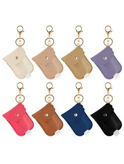 8 Pieces Leather Travel Bottle Keychain Holder Set- 8 Colors Leather Key Chain Holder with 8 Pieces 30ml Clear Refillable Flip Cap Empty Travel Bottles for Liquid Toiletr