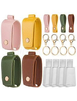 Hand Sanitizer Keychain Holder, Airoak 4 Pack Small Empty Travel Size Reusable Flip Cap Bottle for Soap Liquids Shampoo and Lotion- 30ML/1oz Refillable Containers Bottles
