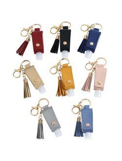 Empty Bottle Pu Faux Leather Hands Sanitizer Keychain Holder Tassels Keychain