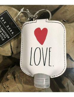 Rae Dunn LOVE Hand Sanitation Holder w/ Travel Bottle & Key Chain NEW Heart