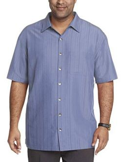 Men's Big And Tall Big And Tall Air Short Sleeve Button Down Poly Rayon Stripe Shirt