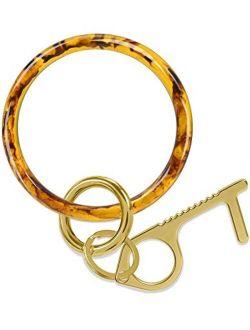 Doormoon Keychain Bracelet, Wristlet Resin Round Key Ring Circle Bangle for Women and Girls