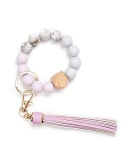 Silicone Keychain Bracelet, Car Key Ring  Beaded Wristlet Tassel for Women and Girls