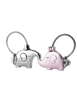 Preamer Valentine Day Gifts Cute Elephant Couple Keychain for Girl Lovers Gift Couples Gifts