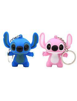 Ireav 2pcs Stitch Cartoon Modeling Keychain LED light Key Ring Handbag Bag Purse Pendant Key Holder Couples Keychains Set Animal Keychain Lights