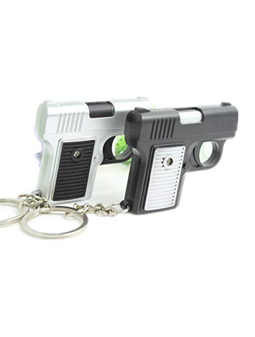 ODETOJOY 1PC Shooting Gun Keychain with Led Light And Sound Keychain Pendant Key Ring Random Color