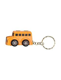 School Bus Keychain with LED Lights and Noise Backpack Charm