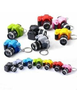 Mini Camera With Flash Light Lucky Cute Charm LED Luminous Keychains with Light  Gifts