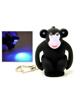 LED MONKEY KEYCHAIN with Light and Sound Cute Chimp Animal Noise Key Chain Ring