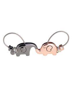 ASHMITA Cute Kiss Elephant Couple Keychain for Women Charm Romantic Valentine Gift