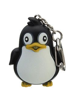 Catnew Cute Animal Penguin Keychain With LED Light with Sound Key Ring Torch Bag Wallet Hanging Pendant Ornament Gift (Noir)