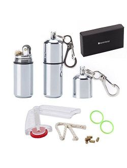 Dreambay EDC Waterproof Lighter - 2 Pack Peanut Lighter for Survival and Emergency Use Bonus Inculded 6 Keychain With Lighter Flint, 1 Windproof Wick, 2 Waterproof O-Ring