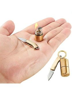 Mini Thumb Keychain With Lighter and Knife Set,Field Emergency Survival Tool Sophisticated and Practical (Lighter and Knife)