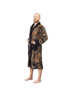 Mens Ultra Soft Plush Coral Fleece Lounge Robe-Bath Robe- Camo & Black