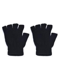 matoen Men Black Knitted Stretch Elastic Warm Half Finger Fingerless Gloves