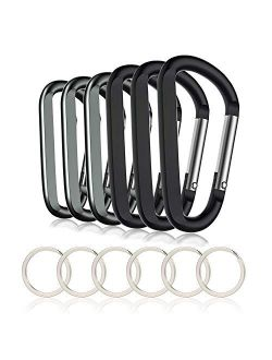 "6PCS Carabiner Caribeaner Clip,3"" Large Aluminum D Ring Shape Carabeaner with 6PCS Keyring Keychain Hook"