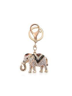 Rhinestone Elephant Keychain for Women Lucky Crystal Personalized Key Ring Bag Charms