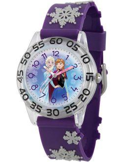 Frozen Elsa and Anna Girls' Clear Plastic Time Teacher Watch, 3D Purple Plastic Strap
