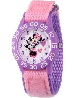 Minnie Mouse Girls' Purple Plastic Time Teacher Watch, Pink Hook and Loop Nylon Strap with Purple Backing
