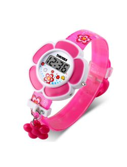 SKMEI Girls Cute Flower Digital Watch with Charm, 4 to 7 year olds