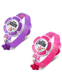 Flower Girl Digital Watch in Pink or Purple - Kids Watch