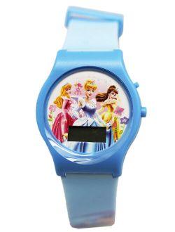 Princess Light Blue Colored Band Digital Dial Kids Watch