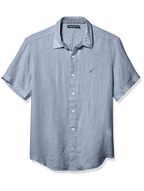 Nautica Men's Short Sleeve Classic Fit Solid Linen Button Down Shirt