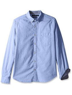 Men's Big And Tall Long Sleeve Button Down Solid Oxford Shirt