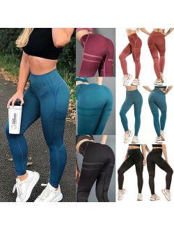 Women's Yoga Pants Gym High Waist Compression Leggings Workout Butt Lift Compression Trousers