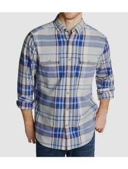 5 Nautica Mens Blue Plaid Long-sleeve Button Casual Flannel Shirt Size Xl