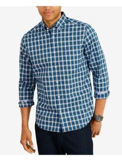 Utica Men Blue White Plaid Stretch-cotton Long-sleeve Button-up Shirt 3xl