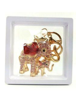 Keychain Hanging Bag Souvenir Gift Rhinestone Elephant Keychain Mom &Son Colorful Cute
