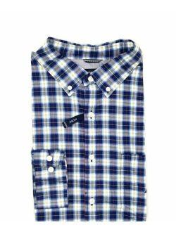 Utica Men's Classic-fit Blue White Plaid Long-sleeve Button Shirt Size Xl