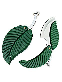 2 Pack Mini Portable Green Leaf Knife Business Gift Creative Key Accessories Folding Pocket Knife - Stainless Steel Folding Pocket Keychain Knife - Sharp Compact EDC Easy