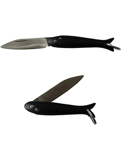 Fish Smallest Mini Micro Handmade Pocket Folding Folder Keychain Knife, Stainless Steel, Multi Purpose Portable Tiny Blade (Black)
